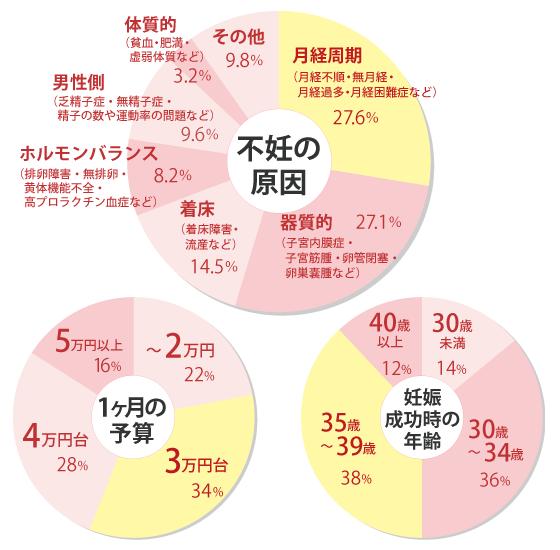 不妊の原因・妊娠成功時の年齢・1ヶ月の予算